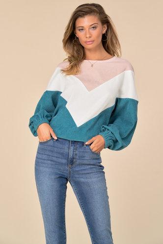 front_Casual Boat Neck Color Block Shirred Multicolor Chevron Sweatshirts & Hoodies