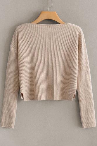 back_Giselle Apricot Ribbed Knit Cardigan