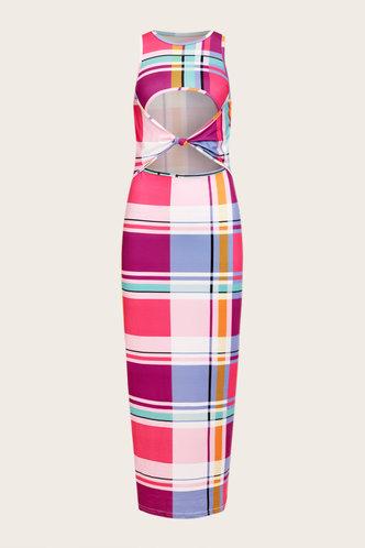 back_Claire Ostum Plaid Cutout Front Bodycon Maxi Dress