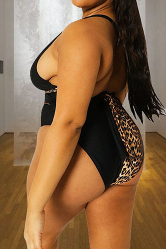 back_Penelope Enid Black And Leopard Plus One-Piece Swimsuit