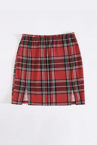 back_Prima Elaine Red Plaid Split Hem Skirt