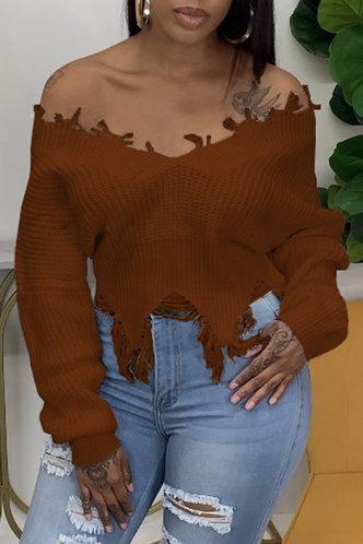 front_Off the Shoulder Tassel Brown Sweater
