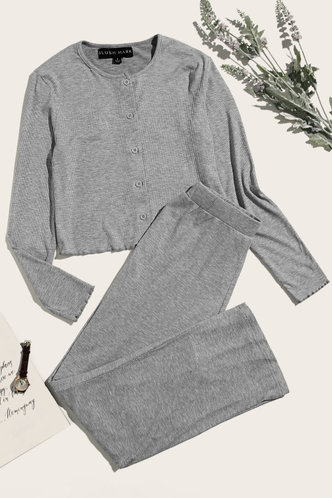 front_Just Wow Grey PJ Set