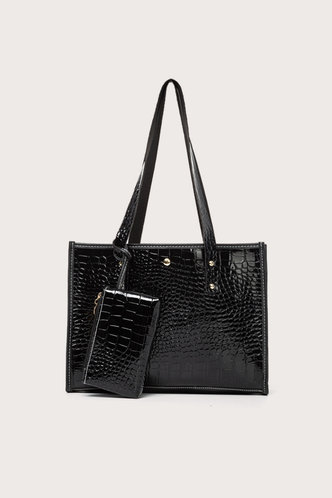 back_Plain Zipper Up Black Tote Bags
