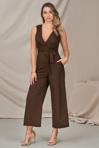back_Next Station Brown Jumpsuit
