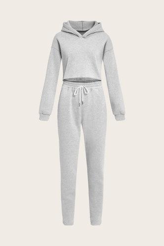 back_Plain Pocket Drawstring Light Grey Pants Set