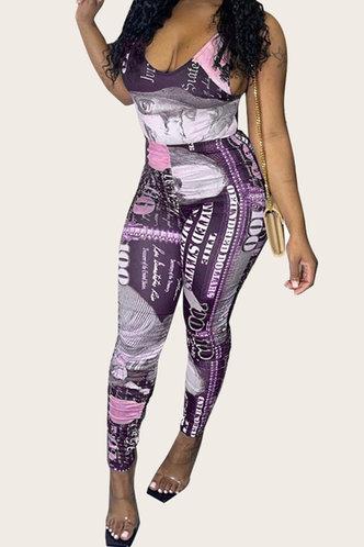 front_Clarinda Elsie Purple Dollar Print Jumpsuit