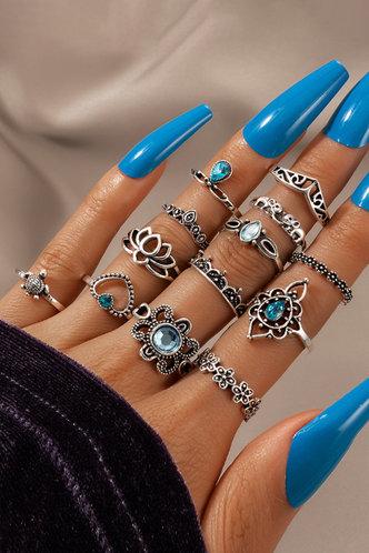 front_Jaqueline Elizabeth Sliver Rhinestone Charm Ring 13pcs