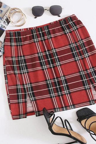 front_Prima Elaine Red Plaid Split Hem Skirt