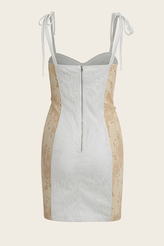 back_Miley Cyrus Beige And White Lace Dress
