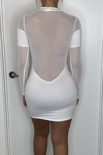 back_Bar/Nightclub Mini Crew Neck Regular Sleeve White Plain Dress