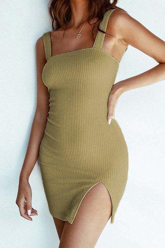 back_Aggy Eleanore Sage Green Plus Split Hem Dress
