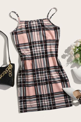 front_Helen Kvarop Plaid Plus Cami Bodycon Dress