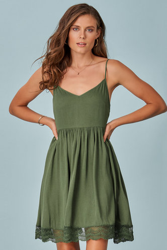 front_Isis Army Green Mini Dress