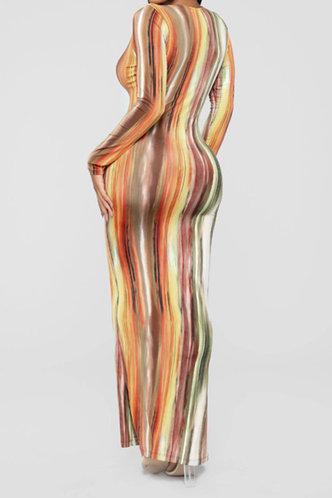 back_Mandy Elsa Brown Tie Dye Bodycon Dress