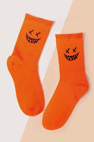 front_Graphic Print Orange Socks & Tights
