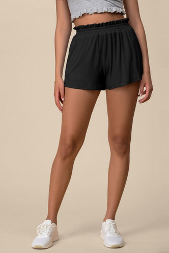 front_Poetic Love Black Shorts