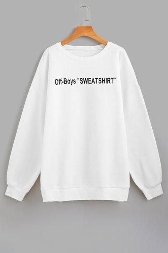 back_Crew Neck    Pullover White Sweatshirts & Hoodies