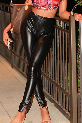 back_Talbot Black Leather Pants