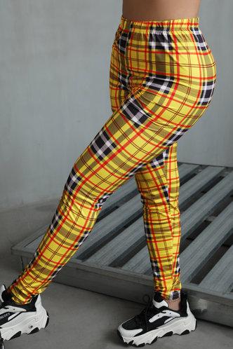 back_Mid Waist Plaid Pencil Pants Plaid Leggings