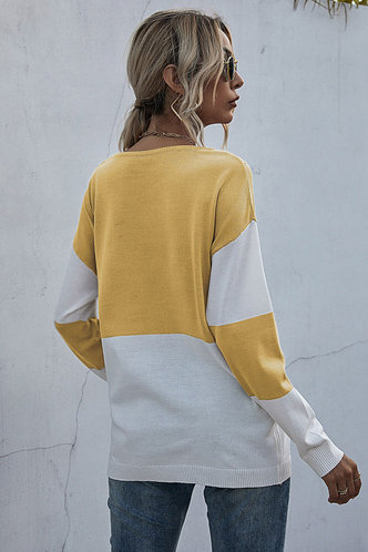 back_Faithe Yellow And White Colorblock Sweater