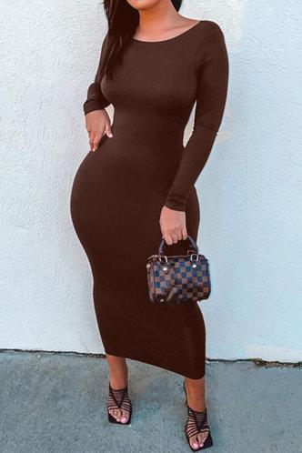 front_Melody Elma Coffee Brown Bodycon Dress