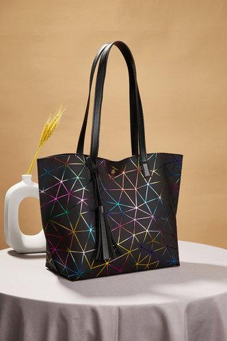 back_Tatum Elva Black Geo Print Tote Bag