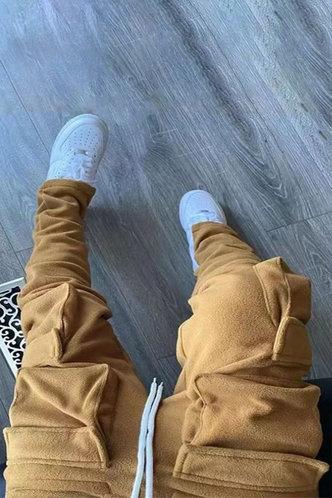 front_Mid Waist Plain Pocket Camel Sweatpants
