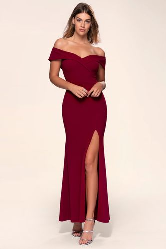 front_My Valentine {Color} Stretch Crepe Maxi Dress