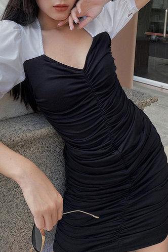 back_Deirdre Kuirej Black And White Puff Sleeve Ruched Dress