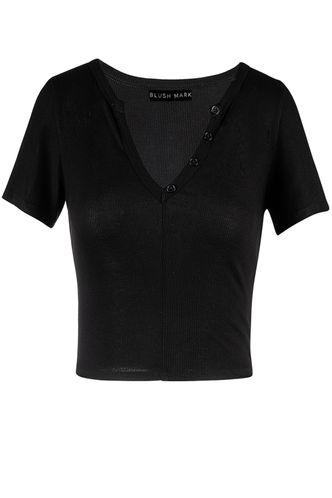 front_Golden Light Black Short Sleeve Top