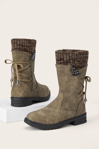 back_Plain Flat Round Toe Khaki Boots