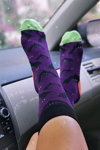 back_Animal Colorblock Purple Socks & Tights