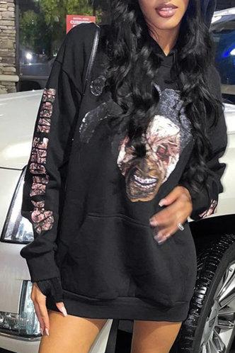 front_Street Hoodie Figure Pocket Black Sweatshirts & Hoodies