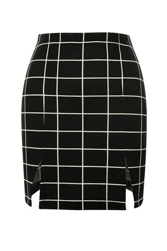 front_Checkered Past {color} Skirt