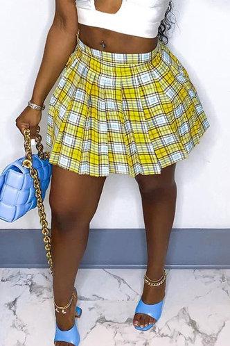 front_Evelyn Loghej Yellow Plaid Skirt