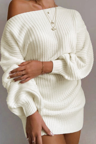 front_Asymmetrical Neck Solid Color Dropped Shoulder White Sweaters