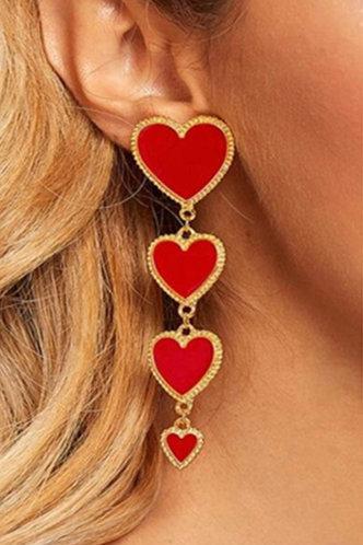 front_Inge Elizabeth Gold Heart Drop Earrings 1pair