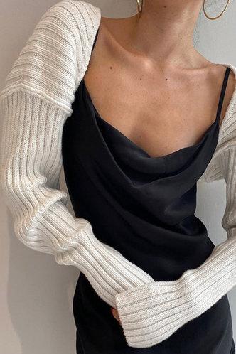 front_Camille Edwina White Shrug Sweater