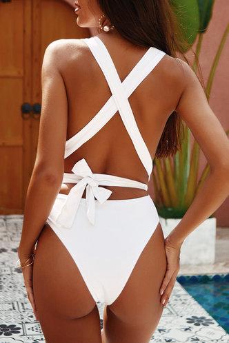 back_Don't Break My Heart White One-Piece Swimsuit