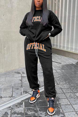 back_Letter  Pullover Black Pants Sets