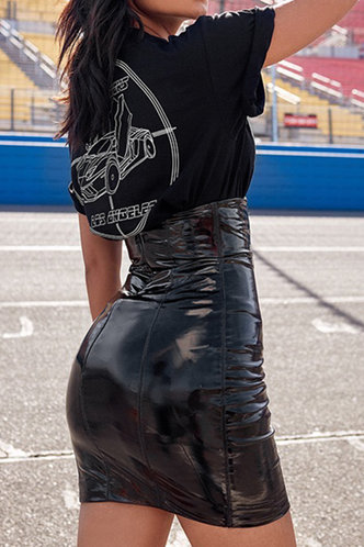 back_Sunny Elma Black Skinny Skirt