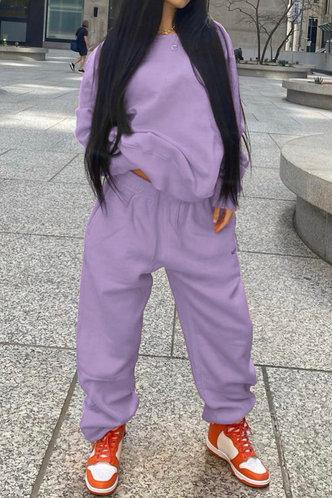 front_Plain Elastic Band Pullover Lilac Pants Sets