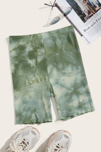 front_Norma Eartha Green Tie Dye Biker Shorts