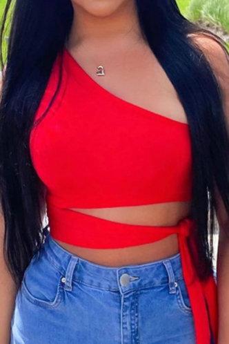 front_Heloise Marban Red Off Shoulder Top