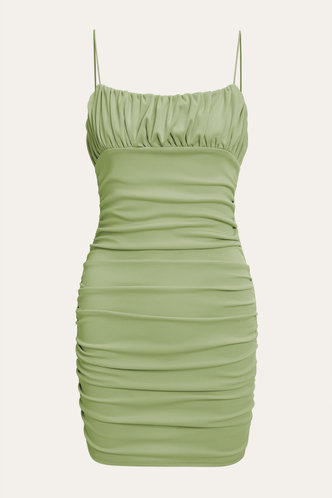 back_Dagmar Elaine Green Bodycon Ruched Dress