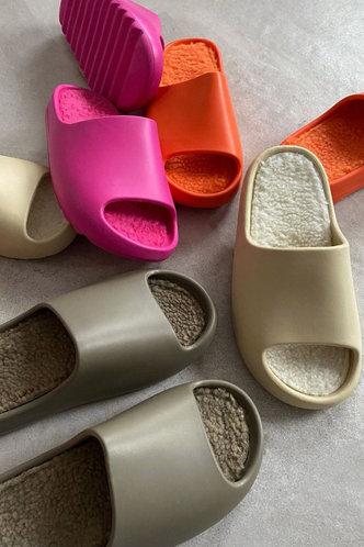 back_Solid Khaki Slides & Flip Flops