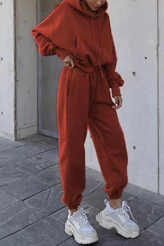front_Karan Edwina Casual Rust Red Sweat Set