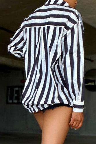 back_Hazel Esther Striped Button Up Oversized Blouse