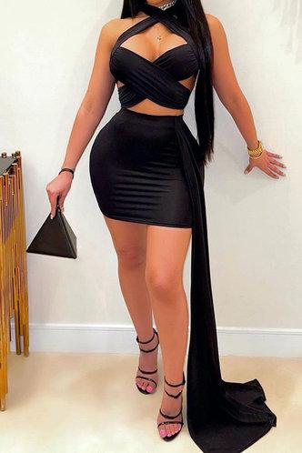 front_Party Mini Sleeveless Halter Black Plain Dresses